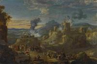 osmanenüberfall in bergiger landschaft by johannes lingelbach