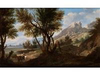bergige landschaft mit reiter und staffagefiguren by andrea locatelli