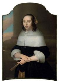 portrait de jeune femme tenant un éventail by isaac luttichuys