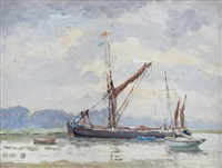 calm - two barges anchored with a smack by hugh boycott-brown