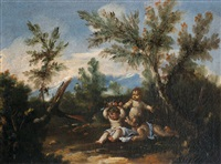 pendants mit in landschaft spielenden putten (pair) by antonio francesco peruzzini