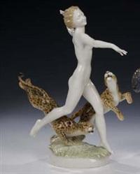weiblicher akt mit geparden by lorenz hutschenreuther