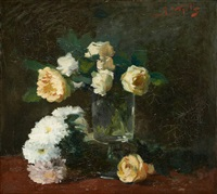 composition aux roses blanches by guillaume vogels