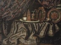 bodegón con jarras y reloj by francesco fieravino (il maltese)