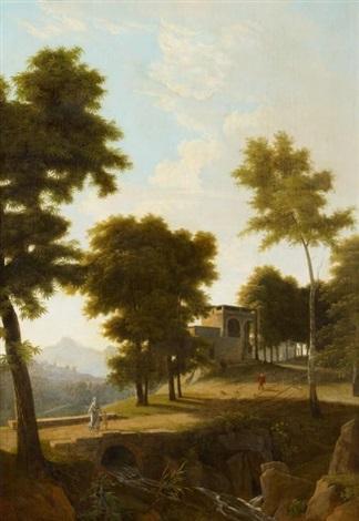 italienische landschaft mit architektur und figurenstaffage by jean victor bertin