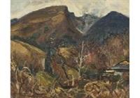 hakone (distant view of gora, mt. sounzan) by usaburo ihara