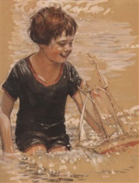 boy with sailboat by john rae