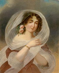 portrait einer jungen dame im habit der zeit by joseph haier
