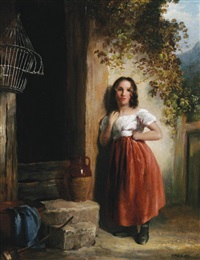 girl by a cottage by thomas faed