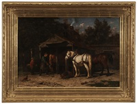 horses being shod by willem jacobus boogaard