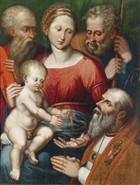die heilige familie mit den heiligen josef, hieronymus und einem bischof als stifter by innocenzo di pietro (da imola) francucci