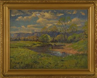 landscape with stream and mountains in the distance by karl ouren