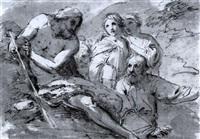 der predigende johannes der täufer (+ landschaft mit wanderer, kind und rastender frau, black chalk; verso) by andrea appiani