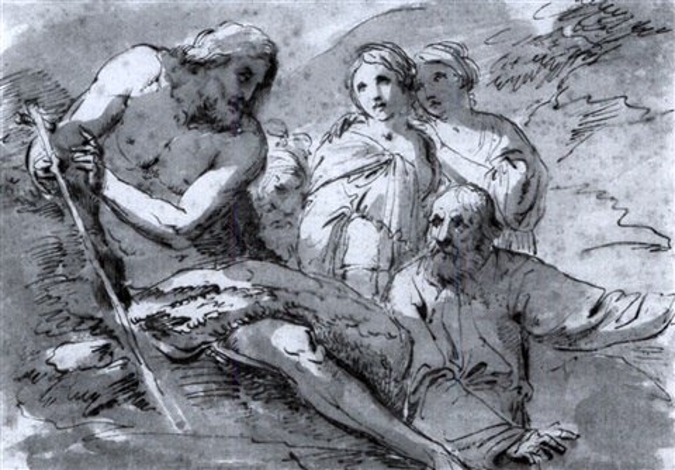 der predigende johannes der täufer landschaft mit wanderer kind und rastender frau black chalk verso by andrea appiani
