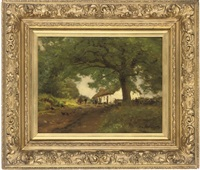 figures by a cottage in the woods by alexander brownlie docharty
