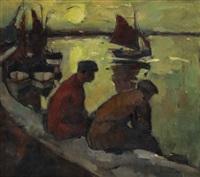 visschers (avond) by oscar verpoorten