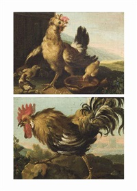 a hen with its chicks; and a cockrell (pair) by melchior de hondecoeter