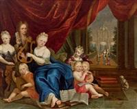 gruppenporträt der familie pangaert d'opdorp beim musizieren vor einem garten im hintergrund by jacob andries beschey