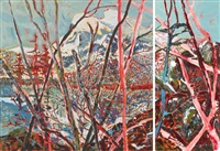 mountains when they meet sing songs like whales (mount rundle) (diptych) by laurel j. v. cormack