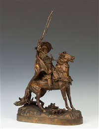bronze sculpture of a cossack on horseback by evgeny aleksandrovich lansere