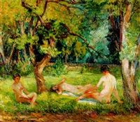 nudes in a landscape by carl adolf korthaus