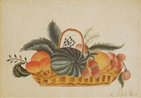 a theorem of melon, strawberries and peaches in a woven basket by sarah ann henshaw ward