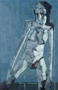 mujer en azul sentada by antonio quirós