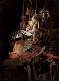 still life of a dead pheasant and other birds, with hawking accoutrements, on a draped stone ledge by jan weenix