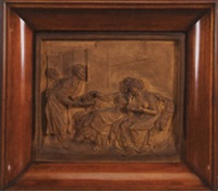 a serving man offering refreshment to two seated ladies of fashion by robrecht jan fabri