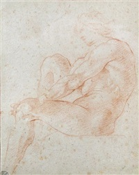 seated ignudo: study for the never realised vault decoration of s. luigi dei francesi, rome (1653-1660) by andrea sacchi
