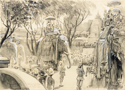 state entry of lord curzon into delhi 29th december 1902 by george percy r e jacomb hood