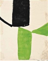 green and black, red and orange red and pink (3 works) by peter phillips