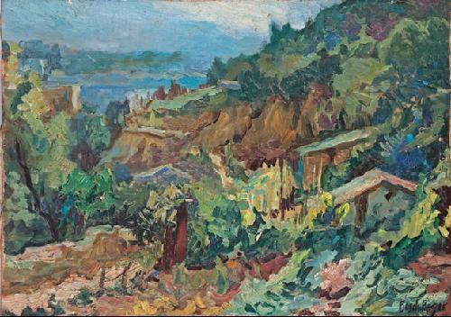 paisaje con montaña caserio y mar by emili bosch roger
