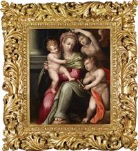 die madonna von einem engel bekränzt mit dem johannesknaben by giovanni battista di matteo naldini