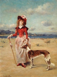 portrait of a lady with her borzoi on a beach by george van den bas