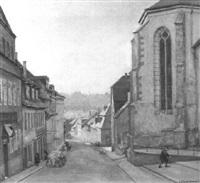 sommermorgen in einer deutschen kleinstadt by friedrich wilhelm fischer-derenburg