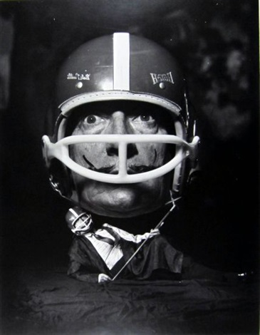 salvador dali in helmet montage by philippe halsman