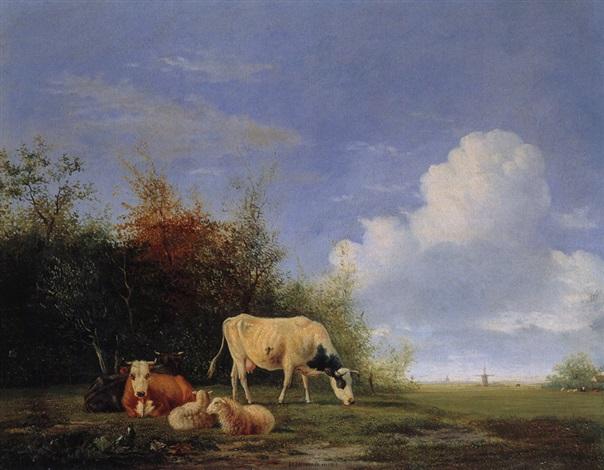 landschaft mit windmühle schafen und kühen by johannes jacobus jan heppener