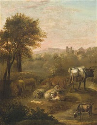 a landscape with cattle and sheep, a village beyond by adriaen van de velde