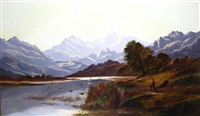 a shepherd and son by a loch in the highlands by charles leslie
