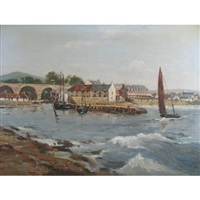 harbour scene with sailing boats and town buildings by tom campbell