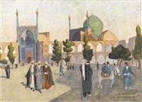 der belebte meidan-e emam platz in isfahan by marcel amiguet