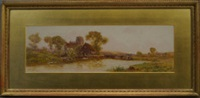 river landscape with a barge, cottages woodland and a church by walter stuart lloyd