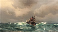 paddle steamer in choppy sea by vilhelm victor bille