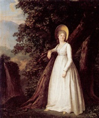 portrait of a lady standing at the edge of a wood by jacques sablet