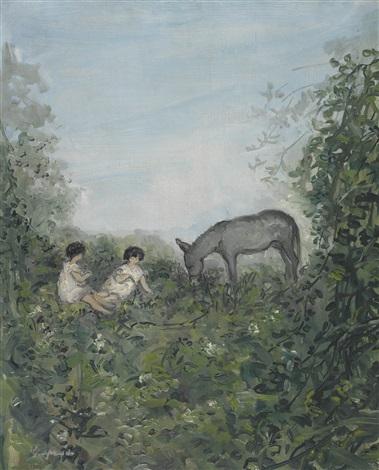 paysage avec deux femmes et un âne by pierre laprade