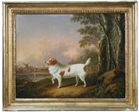 a marlborough spaniel in a wooded landscape, a windmill beyond by charles towne