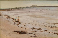 two children playing on the beach by david farquharson