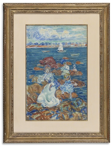 low tide (figures and rocks) by maurice brazil prendergast