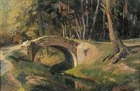 steinerne bogenbrücke über einen bachlauf am waldrand by johann wilhelm schirmer